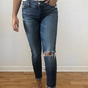 7 for all mankind blue ripped straight jeans